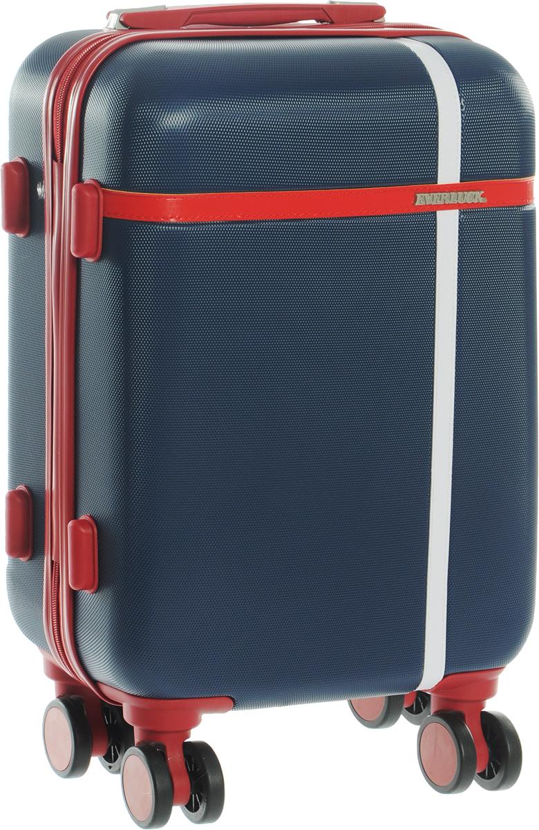Чемодан Everluck, цвет: синий, красный, 30 лER/ABS 8106 46 cmЧемодан Everluck надежный и практичныйв путешествии.Выполнен из прочного и ударостойкого ABS пластика, материал внутренней отделки - 100% нейлон зеленого цвета. Чемодан содержит продуманную внутреннюю организацию. Имеется одно большое отделение, которое закрывается по периметру на застежку-молнию. Внутри содержатся два больших отдела для хранения одежды. Для легкой и удобной перевозки чемодан оснащен четырьмя колесами, вращающимися на 360 градусов. Телескопическая ручка выдвигается нажатием на кнопку и фиксируется в двух положениях. Сверху и сбоку предусмотрены ручки для поднятия чемодана.Чемодан оснащен кодовым замком TSA, который исключает возможность взлома.Размер чемодана: 35 х 46 х 20 см.Объем чемодана: 30 л.