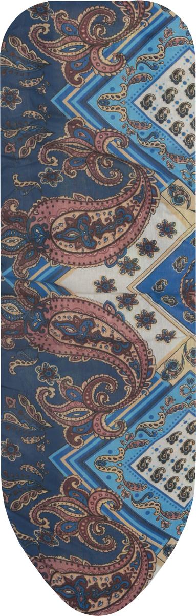 Чехол для гладильной доски Eva, с поролоном, цвет: синий, коричневый, 119 х 37 см чехол для гладильной доски paterra цветы с поролоном цвет кремовый сиреневый 146 х 55 см