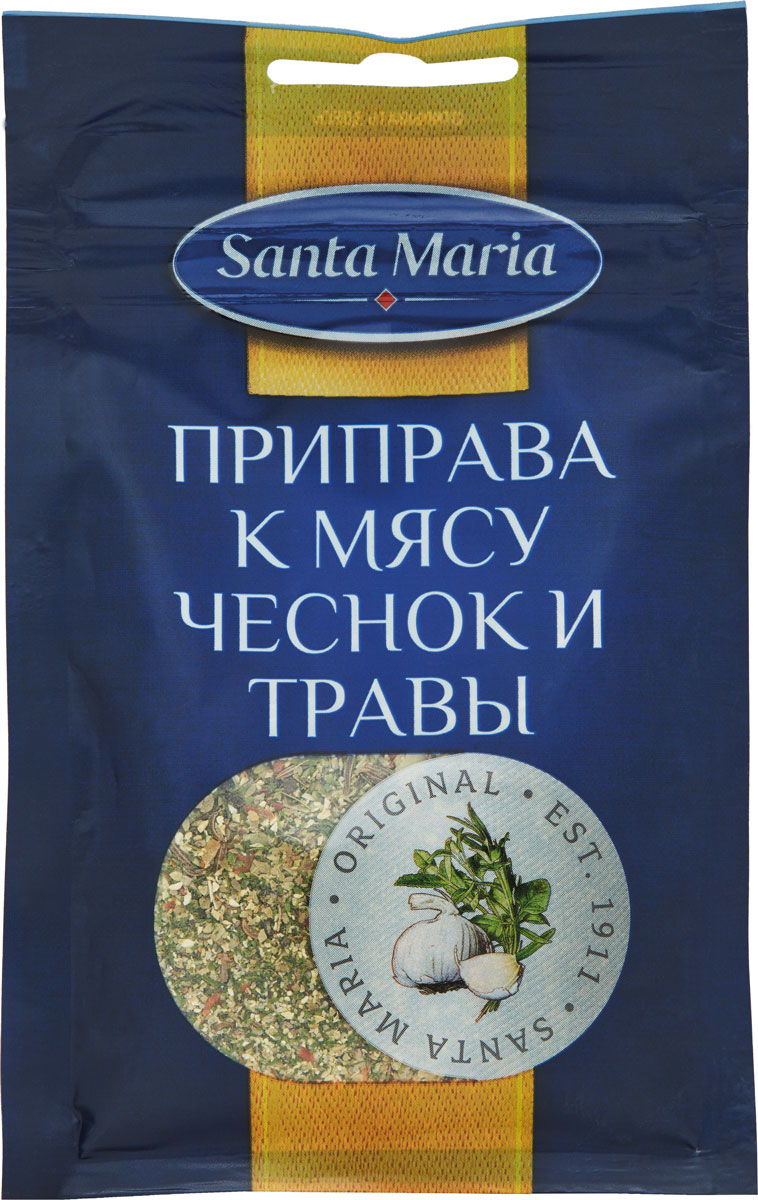 Santa Maria Приправа к мясу пряная чеснок и травы, 20 г santa maria травы прованса 205 г