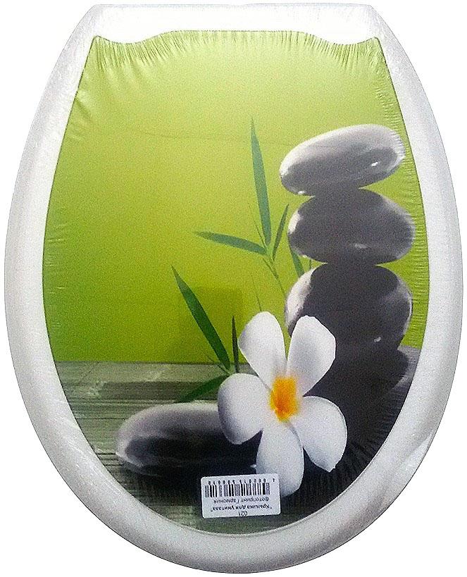 Сиденье для унитаза DeLuxe Гармония, 45 х 37 см021Сидение для унитаза DeLuxe Гармония выполнено из полипропилен (пластик) и оформлено красочным рисунком с изображением цветка и камней. Рисунок на поверхности нанесен с помощью высококачественной пленки, стоек к истиранию и долговечен. Сидение легко мыть. Фотопринты повторяют дизайны противоскользящих ковриков.В комплекте четыре пластиковые опоры, расстояние между центрами крепежа 150-170 мм. Такое сиденье стильно дополнит интерьер вашей ванной или туалетной комнаты.Размер сиденья: 45 х 37 см.