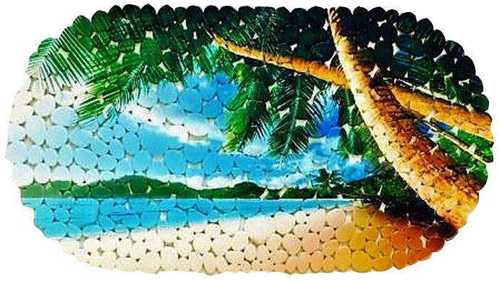 Коврик для ванной DeLuxe Пляж, противоскользящий, 67 х 36 см14-107Коврик противоскользящий DeLuxe Пляж изготовлен из прочного ПВХ. Рельефная поверхность коврика предохраняет от падения. 104 присоски диаметром 15 мм, расположенных по всей нижней стороне коврика, способствуют плотному прилеганию к поверхности ванн из любых материалов. Рисунок на лицевой поверхности нанесен с помощью высококачественной пленки, стоек к истиранию, долговечен. Коврик легко мыть.
