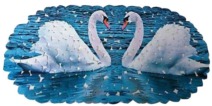 """Коврик противоскользящий DeLuxe """"Лебеди"""" изготовлен из прочного ПВХ. Рельефная поверхность коврика предохраняет от падения. 104 присоски диаметром 15 мм, расположенных по всей нижней стороне коврика, способствуют плотному прилеганию к поверхности ванн из любых материалов. Рисунок на лицевой поверхности нанесен с помощью высококачественной пленки, стоек к истиранию, долговечен. Коврик легко мыть."""