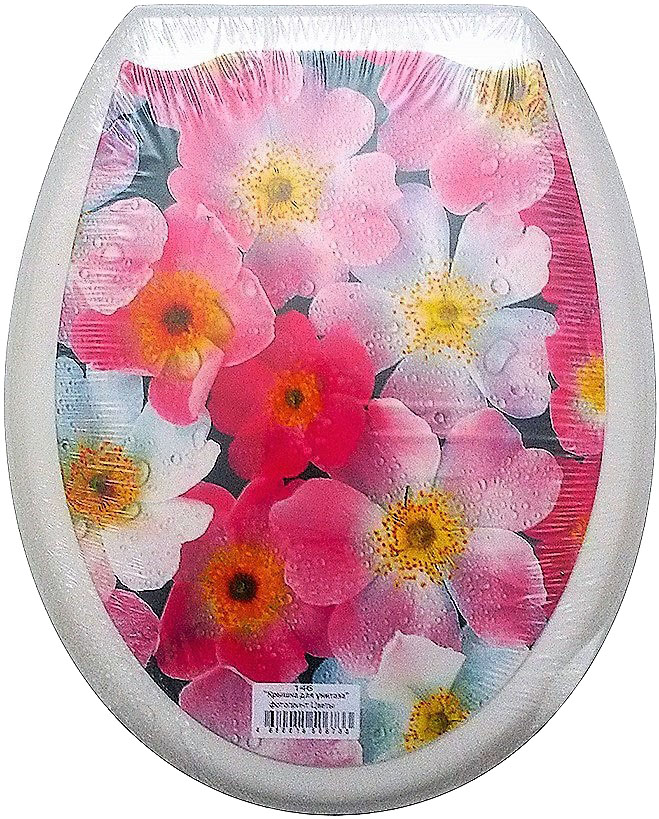 """Сидение для унитаза DeLuxe """"Цветы"""" выполнено из полипропилен (пластик) и оформлено красочным рисунком с изображением цветов. Рисунок на поверхности нанесен с помощью высококачественной пленки, стоек к истиранию и долговечен. Сидение легко мыть. Фотопринты повторяют дизайны противоскользящих ковриков.В комплекте четыре пластиковые опоры, расстояние между центрами крепежа 150-170 мм. Такое сиденье стильно дополнит интерьер вашей ванной или туалетной комнаты.Размер сиденья: 45 х 37 см."""