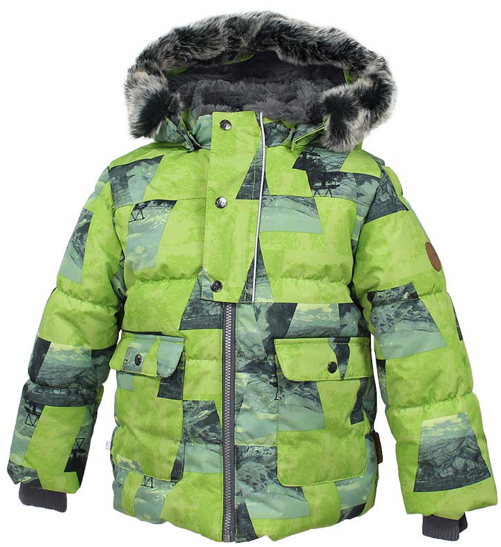 Куртка детская Huppa Oliver, цвет: лайм. 17900030-72447. Размер 12217900030-72447Детская куртка Huppa изготовлена из водонепроницаемого полиэстера. Куртка застегивается на застежку-молнию и кнопки. Модель дополнена отстегивающимся капюшоном с мехом. У модели имеются два накладных кармана с клапанами на кнопках. Изделие дополнено светоотражающими элементами.