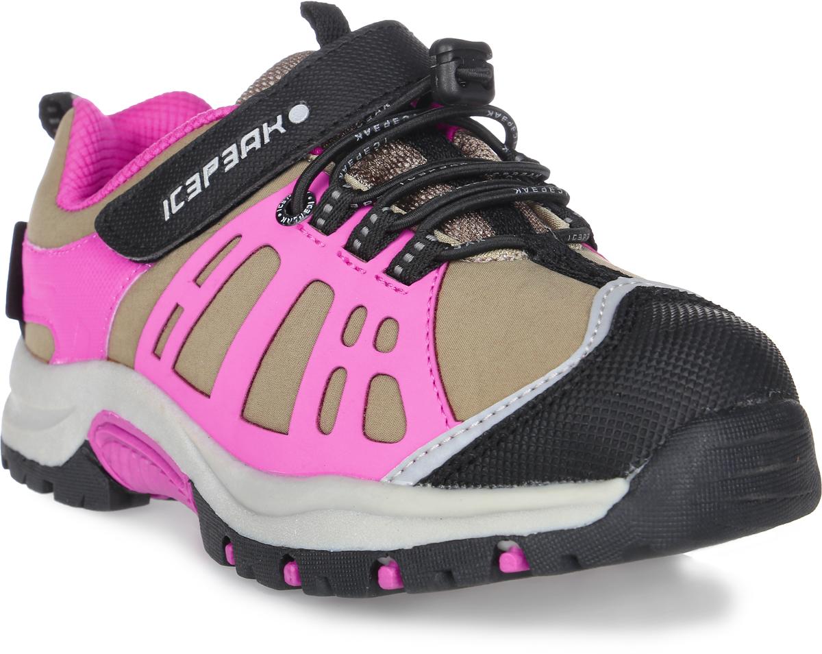 Кроссовки для девочки Icepeak, цвет: розовый. 672202100IV. Размер 35 (34)672202100IVКроссовки для детей Icepeak - идеальный вариант для прохладной погоды. Модель на шнурках и с ремешком на липучке в верхней части, изготовлена из комбинированной ткани.