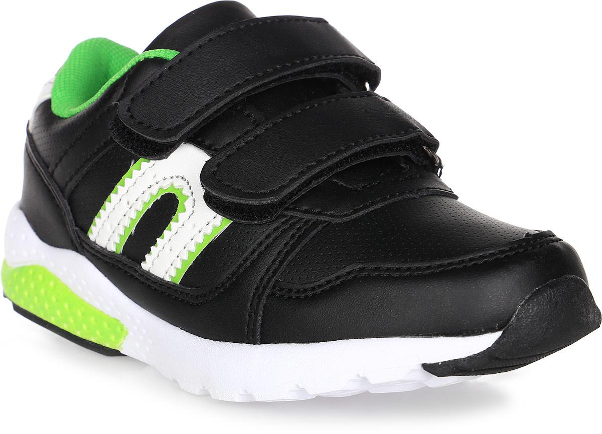 Кроссовки для мальчика BiKi, цвет: черный, зеленый. А-B25-48-A. Размер 27А-B25-48-AКроссовки BiKi выполнены из искусственной кожи с фактурным тиснением. Модель оформлена прострочкой и контрастными вставками по бокам. Застежки-липучки обеспечивают надежную фиксацию обуви на ноге ребенка. Подкладка выполнена из текстиля и натуральной кожи, что предотвращает натирание и гарантирует уют. Подошва с рифлением обеспечивает идеальное сцепление с любыми поверхностями. Стильные и удобные кроссовки - незаменимая вещь в гардеробе каждого ребенка.