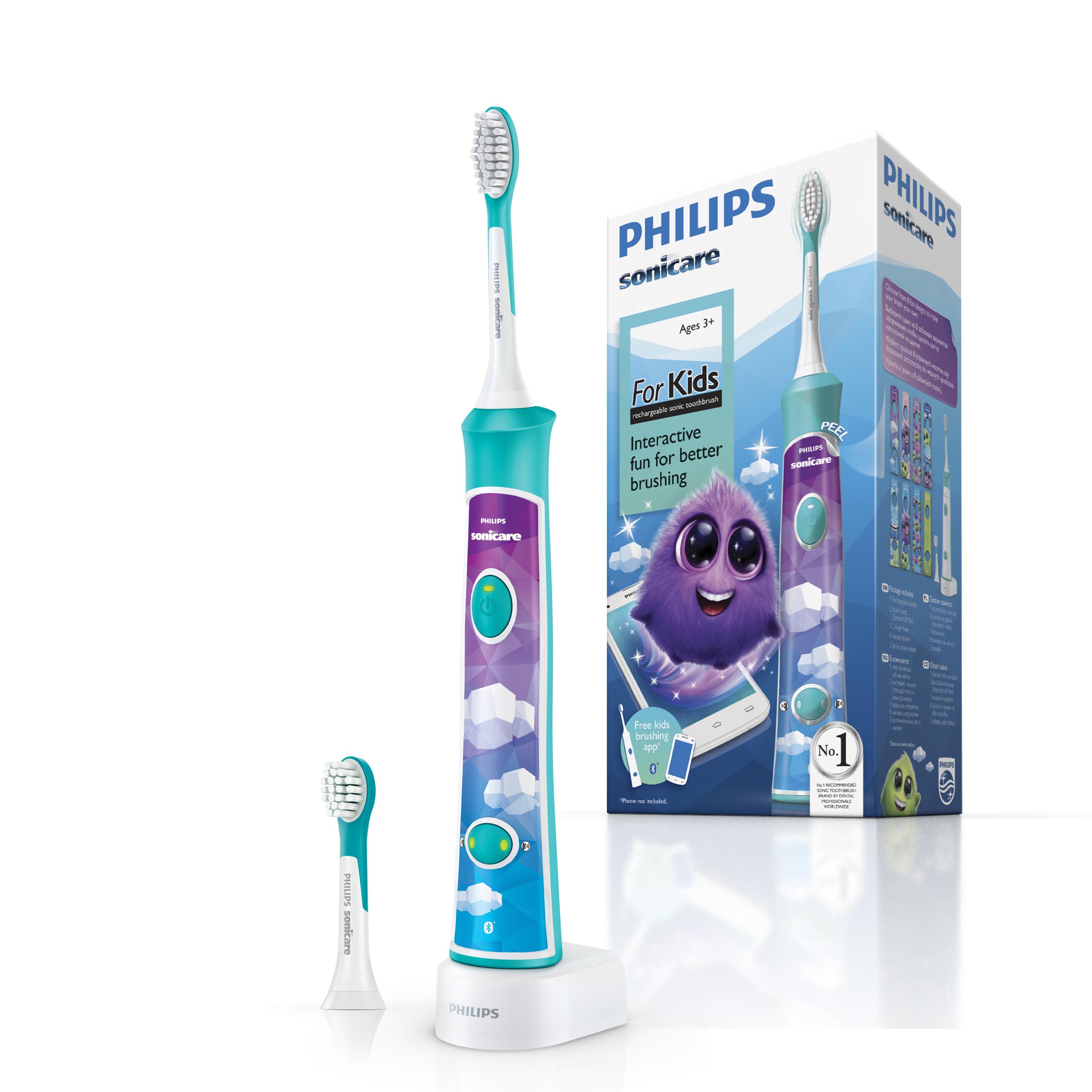 Philips HX6322/04 детская зубная щетка с мобильным приложениемHX6322/04№1 бренд звуковых зубных щеток рекомендуемый стоматологами всего мира.На основании опроса более 4500 зубных врачей,Приоритиз Ресерч,2012. Более 20лет клинических исследований Sonicare. Ирригационный эффект технологии Sonicare способствует более качественному удалению зубного налета из труднодоступных участков полости рта и вдоль линии десен. Интерактивное приложение:ваш ребенок полюбит чистить зубы. Зубная щетка Philips Sonicare For Kids с поддержкой Bluetooth подключается к специальному приложению, которое в игровой форме учит детей правильно чистить зубы. Это увлекательный и веселый процесс, который поможет детям выработать привычку по уходу за полостью рта. До 75% более эффективный результат,чем обычная зубная щетка* Благодаря приложению и зубной щетке Philips Sonicare For Kids дети учатся самостоятельно чистить зубы. Приложение синхронизирует данные с детской звуковой зубной щеткой через Bluetooth, обучая правильной технике чистки и записывая данные каждого сеанса. Дети могут следить за тем, насколько хорошо они чистят зубы, а также получать награды за отличный результат. Это эффективное обучающее приложение: 98 % родителей, принимавших участие в опросе, подтвердили, что дети дольше и лучше чистят зубы**. Веселый и увлекательный процесс, в ходе которого дети формируют полезные привычки по уходу за полостью рта. 2 комфортных для ребенка режима обеспечивают бережную,эффективную чистку.В комплекте 2 насадки ForKids:1 насадка компактного размера для детей от 3 лет(мягкие щетинки),1 насадка стандартного размера для детей от 7 лет(мягкие щетинки). Подходит для использования при наличии пломб,брекетов и других ортодонтических конструкций. *Pelka M, DeLaurenti M, Master A,Jenkins W,Strate J,Wei J, Schmitt P.,2009. **По данным опроса родителей в США, 2015