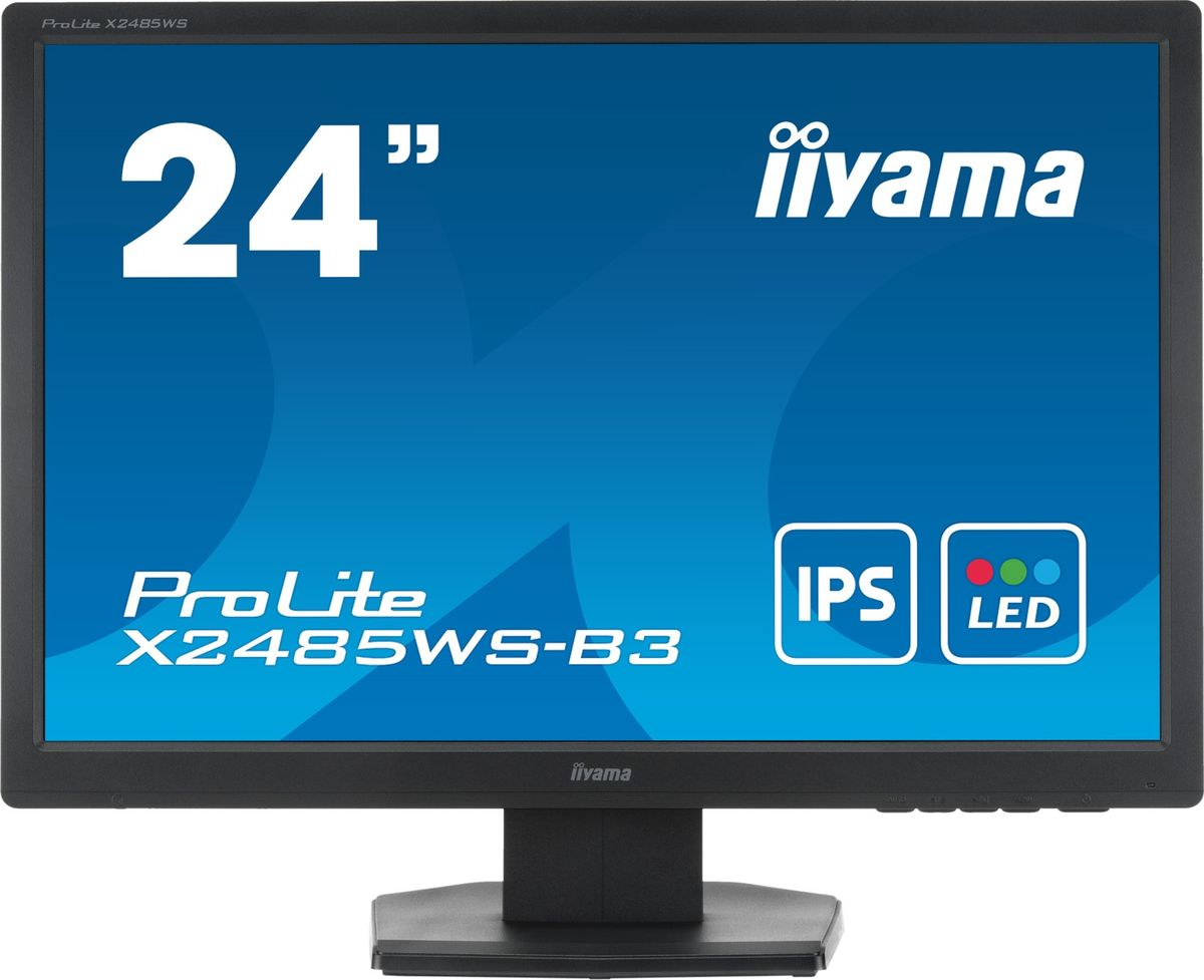 iiyama X2485WS-B3, Black мониторX2485WS-B324 1920x1200, IPS panel, 250cd/m?, >5mln:1 ACR, DisplayPort, VGA, DVI, 4ms, Speakers, TCO6