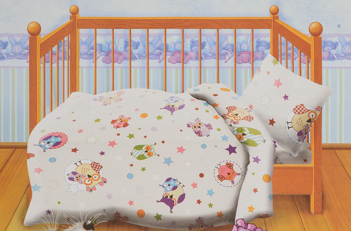 Кошки-мышки Комплект детского постельного белья Многоцветие цвет белый 3 предмета422722Комплект детского постельного белья Кошки-мышки Многоцветие, состоящий из наволочки, простыни и пододеяльника, выполнен из натурального 100% хлопка. Пододеяльник оформлен рисунком в виде забавных сов.Хлопок - это натуральный материал, который не раздражает даже самую нежную и чувствительную кожу малыша, не вызывает аллергии.Такой комплект идеально подойдет для кроватки вашего малыша. На нем ребенок будет спать здоровым и крепким сном.