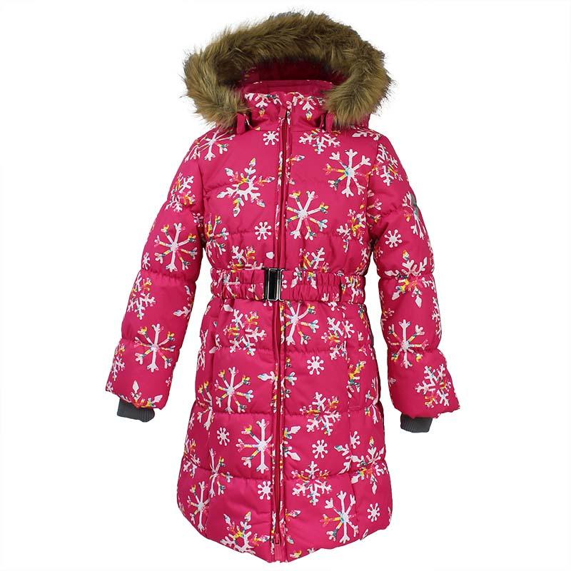 Пальто для девочки Huppa Yacaranda, цвет: фуксия. 12030030-71663. Размер 14612030030-71663Стильное пальто для девочки Huppa идеально подойдет для ребенка в прохладное время года. Модель изготовлена из полиэстера.Пальто с капюшоном и небольшим воротником-стойкой застегивается на застежку-молнию с двумя бегунками и дополнительно имеет внутренний ветрозащитный клапан, а также защиту подбородка. Капюшон оформлен мехом. Низ рукавов дополнен эластичными манжетами, не стягивающими запястья. Спереди модель дополнена двумя втачными карманами. Пальто дополнено съемным эластичным поясом. Модель оформлена ярким принтом.
