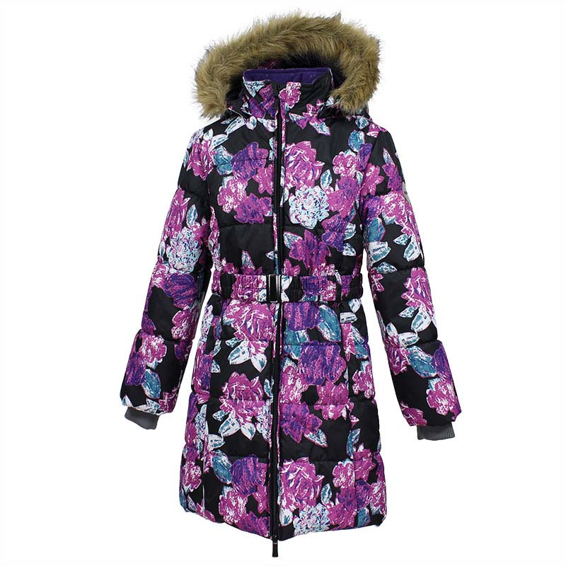 Пальто для девочки Huppa Yacaranda, цвет: черный. 12030030-71509. Размер 12812030030-71509Стильное пальто Huppa идеально подойдет для ребенка в прохладное время года. Модель изготовлена из полиэстера.Пальто с капюшоном и небольшим воротником-стойкой застегивается на застежку-молнию с двумя бегунками и дополнительно имеет внутренний ветрозащитный клапан, а также защиту подбородка. Капюшон оформлен мехом. Низ рукавов дополнен эластичными манжетами, не стягивающими запястья. Спереди модель дополнена двумя втачными карманами. Пальто дополнено съемным эластичным поясом.