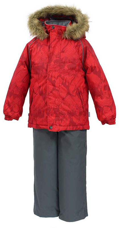 Комплект одежды детский Huppa Winter: куртка, полукомбинезон, цвет: красный, серый. 41480030-73404. Размер 11041480030-73404Комплект одежды Huppa Winter состоит из куртки и полукомбинезона. Куртка оснащена ветрозащитной планкой по всей длине и безопасным съемным капюшоном. Полукомбинезон очень практичен: хорошо закрывает грудку и спинку ребенка, широкие эластичные регулируемые лямки. Вечерние прогулки в этом костюме будут не только приятными, но и безопасными благодаря светоотражающим элементам на куртке и полукомбинезоне.Мех от капюшона не отстегивается.