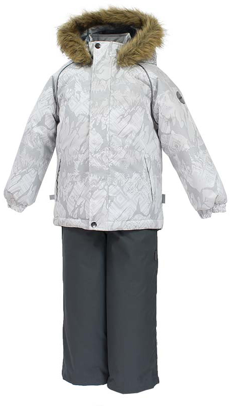 Комплект одежды детский Huppa Winter: куртка, полукомбинезон, цвет: белый, серый. 41480030-73420. Размер 12841480030-73420Комплект одежды Huppa Winter состоит из куртки и полукомбинезона. Куртка оснащена ветрозащитной планкой по всей длине и безопасным съемным капюшоном. Полукомбинезон очень практичен: хорошо закрывает грудку и спинку ребенка, широкие эластичные регулируемые лямки. Вечерние прогулки в этом костюме будут не только приятными, но и безопасными благодаря светоотражающим элементам на куртке и полукомбинезоне.Мех от капюшона не отстегивается.