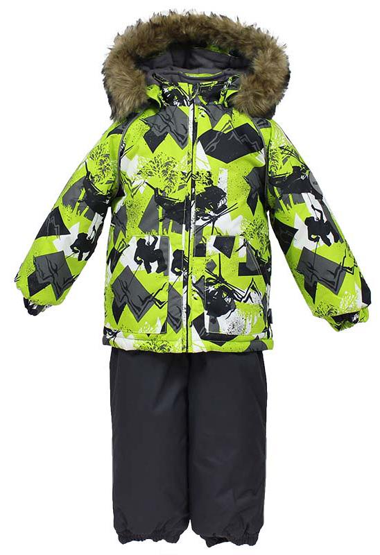 Комплект одежды детский Huppa Avery: куртка, полукомбинезон, цвет: лайм, серый. 41780030-72547. Размер 104 костюмы huppa комплект avery