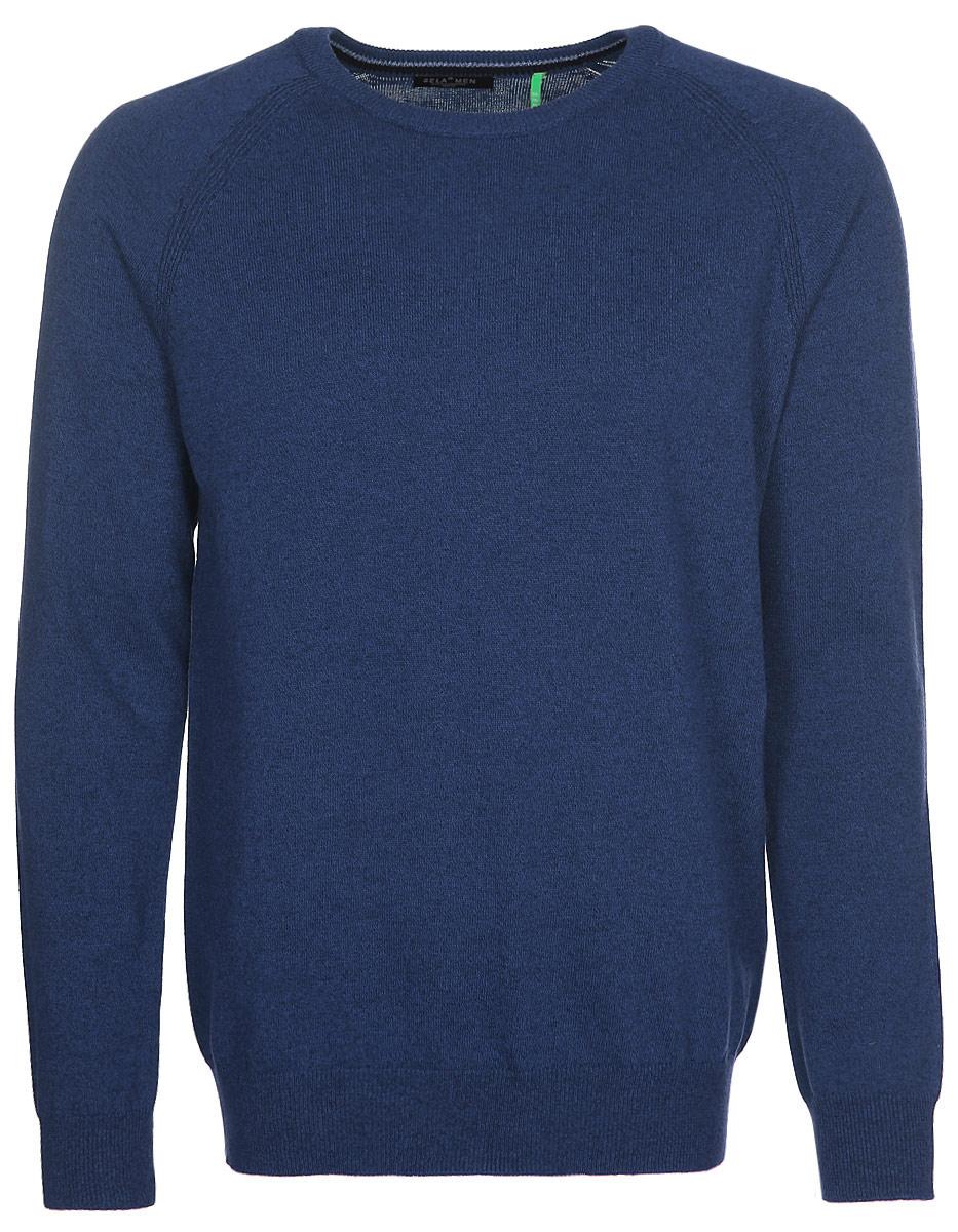 Джемпер мужской Sela, цвет: синий. JR-214/273-7340. Размер S (46) джемпер мужской sela цвет коричневый jr 214 845 6424 размер xxl 54