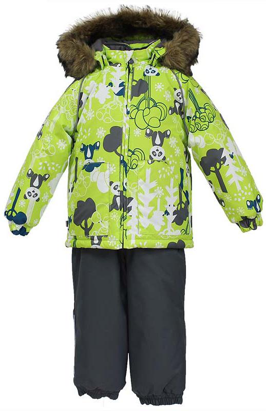 Комплект одежды детский Huppa Avery: куртка, полукомбинезон, цвет: лайм, серый. 41780030-73247. Размер 9841780030-73247Комплект одежды Huppa Avery состоит из куртки и полукомбинезона. Комплект выполнен из высококачественного полиэстера. Ткань с обратной стороны покрыта слоем полиуретана с микропорами, который обеспечивает влагонепроницаемость. Важнейшие швы проклеены водостойкой лентой. Легкий синтетический утеплитель нового поколения HuppaThetm не позволяет проникнуться внутрь холодному воздуху и обеспечивает высокую теплоизоляцию изделий. Куртка с воротником-стойкой и съемным капюшоном застегивается на застежку-молнию с защитой подбородка. Капюшон оформлен искусственным мехом. Манжеты рукавов присборены на резинки. Спереди расположены два накладных кармана. Полукомбинезон очень практичен: хорошо закрывает грудку и спинку ребенка. Застегивается на застежку-молнию. Изделие оснащено широкими эластичными регулируемыми лямки. Низ брючин присборен на резинки. Вечерние прогулки в этом костюме будут не только приятными, но и безопасными благодаря светоотражающим элементам на куртке и полукомбинезоне.