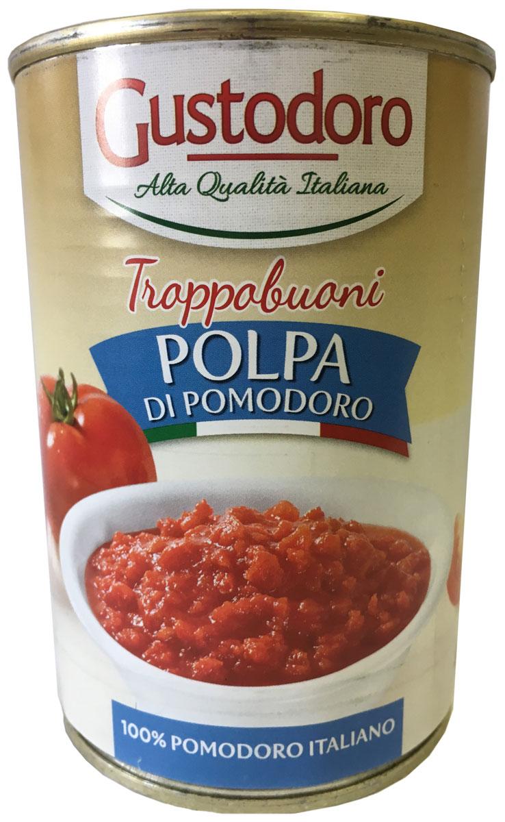 Gustodoro Polpa di Pomodoro помидоры резаные, 400 г8006876100198Нарезанная кубиками мякоть итальянских томатов в собственном соку для приготовления соусов болоньезе, лазаньи и других блюд. Произведенные из оригинальных итальянских сортов томатов непосредственно в регионе их выращивания. Прекрасная замена свежим томатам для приготовления любых блюд. В процессе приготовления не используются консерванты, искусственные стабилизаторы вкуса и красители, поэтому помидоры обладает превосходным натуральным вкусом.