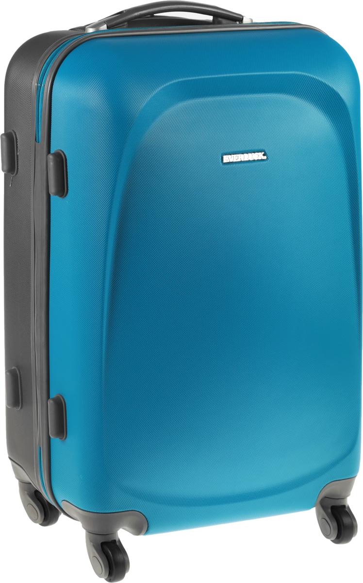 Чемодан Everluck, цвет: бирюзовый, серый, 53 лER/ABS1383 60 cmЧемодан Everluck надежный и практичныйв путешествии.Выполнен из прочного и ударостойкого ABS пластика, материал внутренней отделки - 100% нейлон зеленого цвета. Чемодан содержит продуманную внутреннюю организацию. Имеется одно большое отделение, которое закрывается по периметру на застежку-молнию. Внутри - два больших кармана, один нашивной карман-сетка и маленький нашивной карман. Для легкой и удобной перевозки чемодан оснащен четырьмя колесами, вращающимися на 360 градусов. Телескопическая ручка выдвигается нажатием на кнопку и фиксируется в двух положениях. Сверху и сбоку предусмотрены ручки для поднятия чемодана.Чемодан оснащен кодовым замком TSA, который исключает возможность взлома.Размер чемодана: 60 х 40 х 25 см.Объем чемодана: 53 л.Длина выдвижной ручки: 45 см.