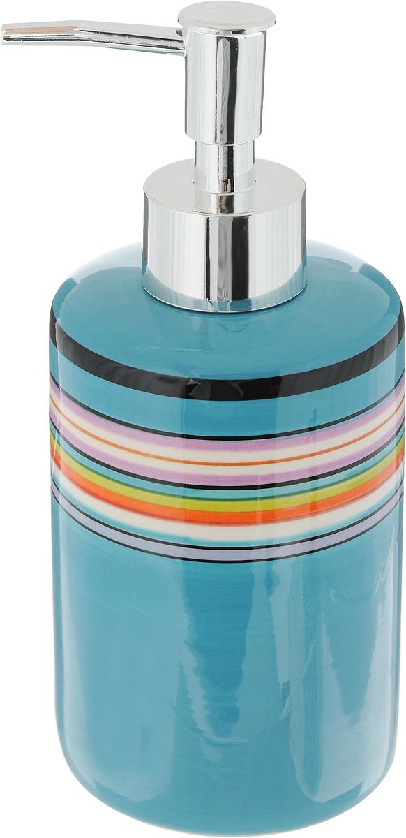 """Диспенсер для жидкого мыла Коллекция """"Вива"""", изготовленный из высококачественной керамики и металла, отлично подойдет для вашей ванной комнаты. Такой аксессуар очень удобен в использовании, достаточно лишь перелить жидкое мыло в диспенсер, а когда необходимо использование мыла, легким нажатием выдавить нужное количество. Диспенсер для жидкого мыла Коллекция """"Вива"""" создаст особую атмосферу уюта и максимального комфорта в ванной.Размер диспенсера: 6,5 х 6,5 х 18 см."""