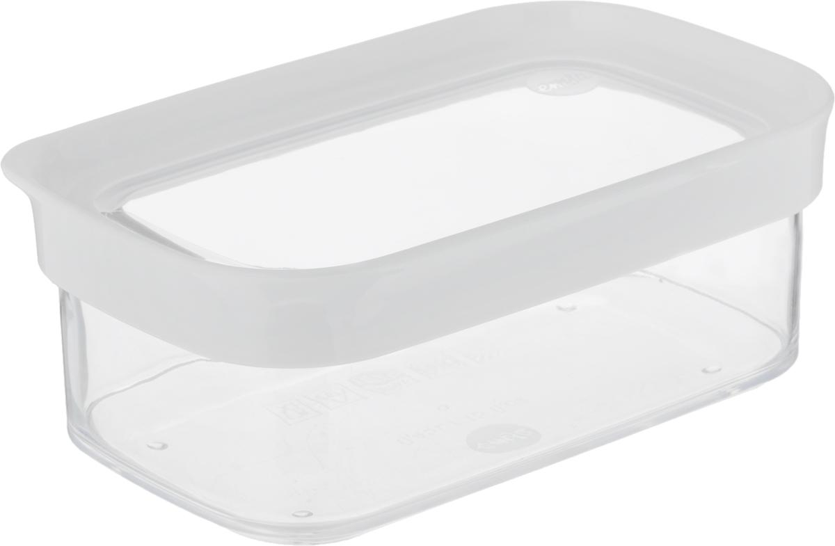 Контейнер для сыпучих продуктов Emsa Optima, 450 мл513556Контейнер для сыпучих продуктов Emsa Optima изготовлен из высококачественного пищевого пластика. Изделие прозрачное, что позволяет видеть содержимое, это очень удобно и практично. Специальная крышка плотно закрывается, предотвращая попадание влаги. Контейнер очень вместителен, в нем можно хранить макароны, крупы и другие сыпучие продукты, а также печенье или конфеты. Идеальный вариант для поддержания порядка на кухне. Можно мыть в посудомоечной машине.Размер контейнера (с учетом крышки): 16 х 10 х 6,5 см.