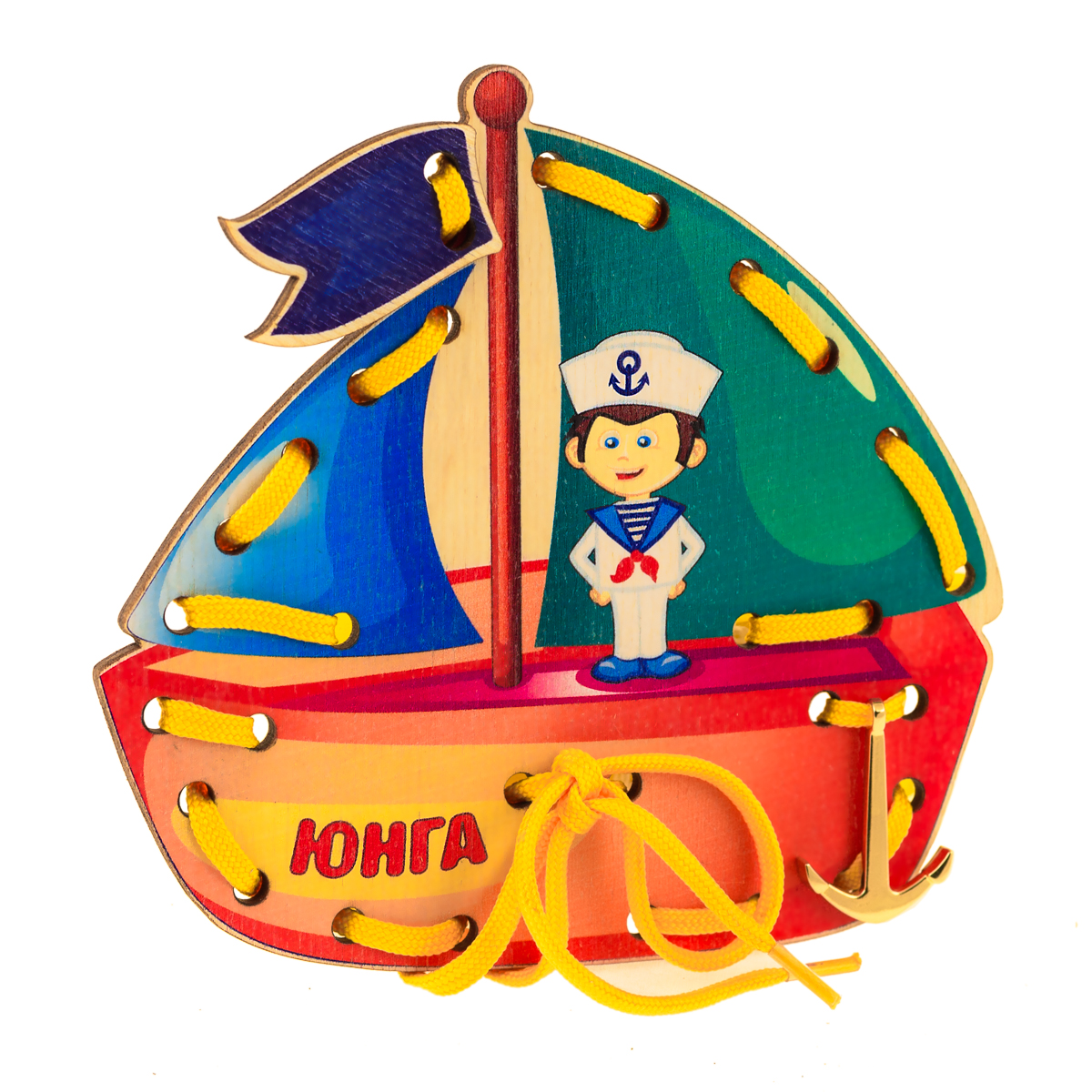 Анданте Игра-шнуровка Кораблик Юнга остатки фанеры купить в минске