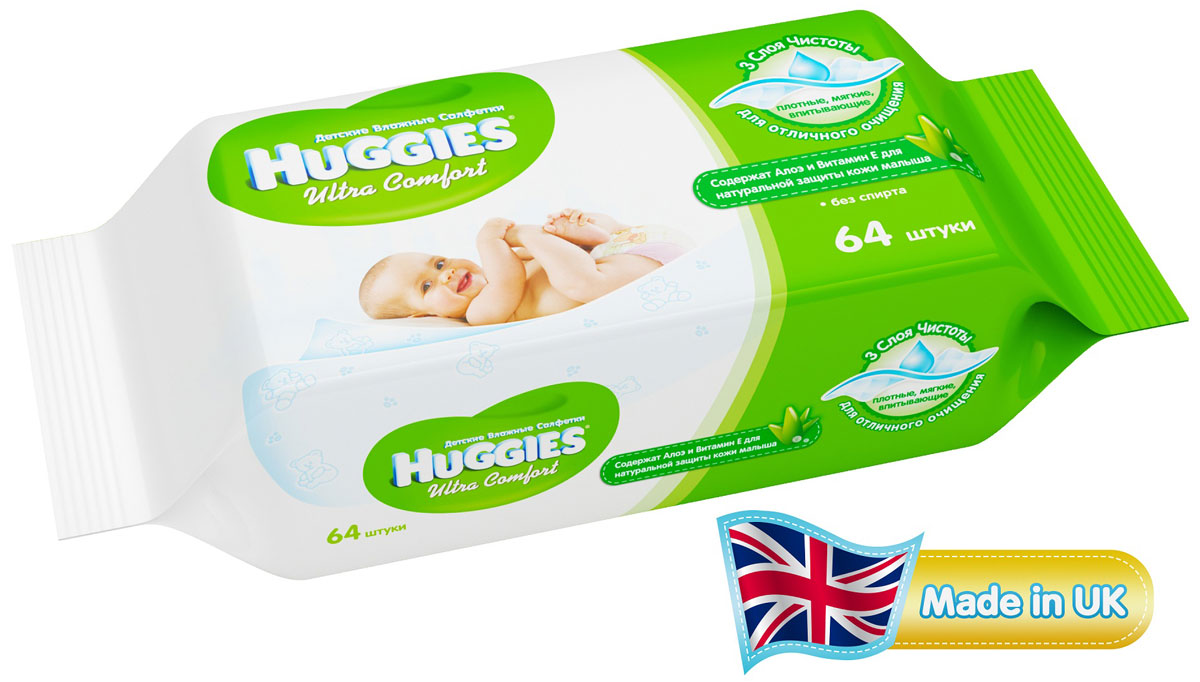 HuggiesВлажные салфетки для детей Ultra Comfort 64 шт Huggies