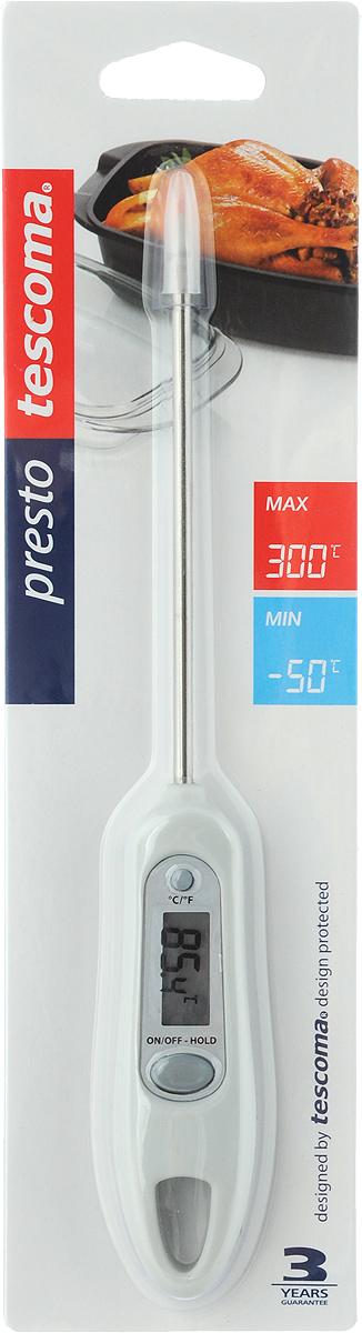 """Цифровой термометр Tescoma """"Presto"""" изготовлен из высококачественной  нержавеющей стали и пластика, снабжен ЖК-монитором и защитным покрытием  для датчика. Прибор быстро и точно измеряет внутреннюю температуру пищи,  напитков, соусов в градусах Цельсия °С и по Фаренгейту °F.  Устойчив к пару и влаге. Не пригоден для мытья в посудомоечной машине. В комплект входят батарейки."""