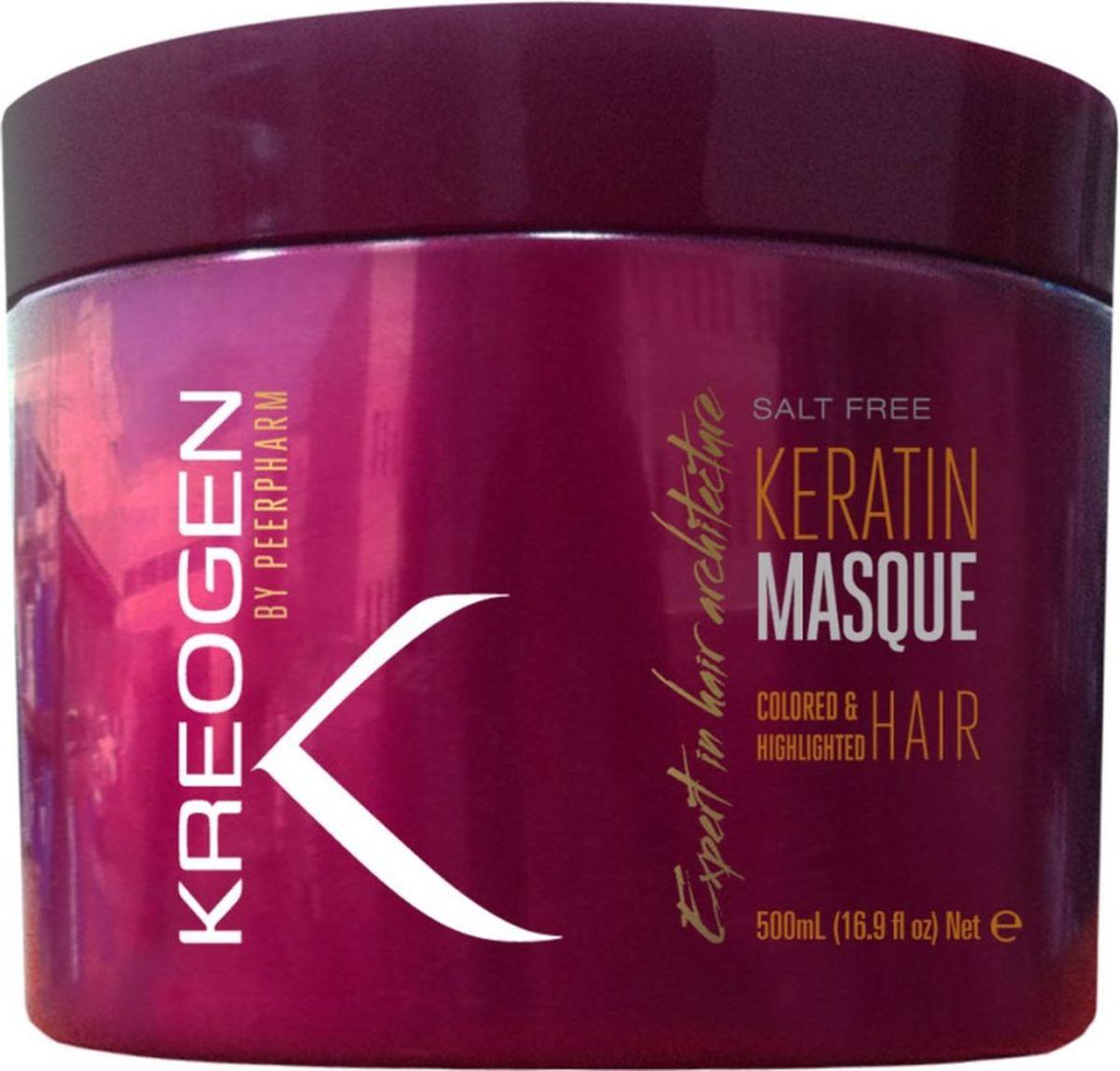 Kreogen Бессолевая кератиновая маска для окрашенных и обесцвеченных волос, Kreogen, 500 млKr2033Основной активный ингредиент косметики Kreogen - кератин - чрезвычайно сильный протеин, основной компонент структуры волос.- восстанавливает жизненную силу и подчеркивает красоту недавно окрашенных или мелированных волос;- быстро увлажняет, волосы приобретают красивый блеск, легко расчесываются, становятся мягкими и роскошными на ощупь;- не вымывает и не допускает потускнение пигмента краски для волос.