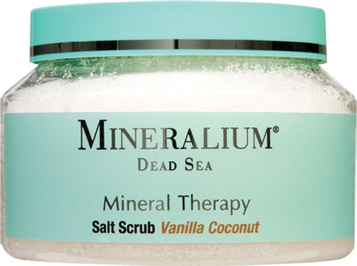 Minerallium Солевой скраб для тела «Ваниль и кокос», Minerallium 500 млMn6029Свежий нежирный отшелушивающий скраб для применения на влажную кожу после ванны или душа. Густая текстура не растекается. - нежно и мягко удаляет омертвевшие кожные клетки, шелушение и огрубевшие участки, является профилактикой целлюлита; - масла питают и увлажняют кожу, подтягивают и смягчают ее; - легкий эффект ароматерапии.