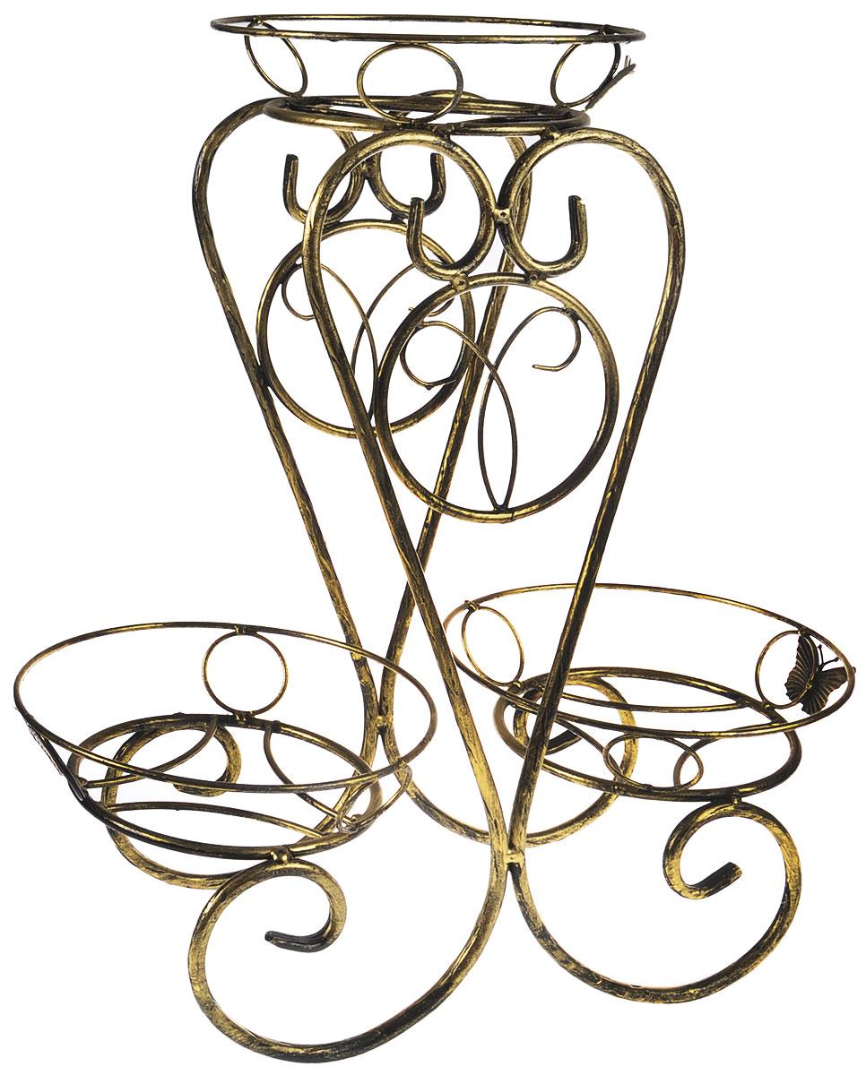 Подставка для цветов Фабрика ковки  Лоза , на 3 цветка, цвет: черный, золотой - Садовый декор