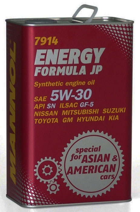 Масло моторное MANNOL Energy Formula JP, 5W-30, синтетическое, 4 л4030Моторное масло MANNOL Energy Formula JP - универсальное моторное масло предназначенное для двигателей японских, корейских и американских легковых автомобилей, минивэнов, внедорожников, SUV и микроавтобусов. Разработано специально для двигателей с системами непосредственного впрыска (GDI, D-4D, NEO-DI), с турбонаддувом, а также с различными механизмами изменения фаз газораспределения (DOHC, VVT-i, VTC, CVVT, VTEC, VVL, VVTL-i, MIVEC и др). Обладает высокими антиокислительными свойствами и превосходными моюще-диспергирующими характеристиками, что предупреждает образование отложений на деталях двигателя. Современный пакет присадок гарантирует прочную смазочную пленку в самых жестких условиях эксплуатации. Обеспечивает легкий пуск двигателя при низких температурах.Допуски и соответствия ILSAC GF-5, GM dexos 1. Вязкость при -30°C: 5420 CP. Вязкость при 100°C: 11,4 CSt.Вязкость при 40°C: 67,2 CSt.Индекс вязкости: 164.Плотность при 15°C: 850 kg/m3.Температура вспышки COC: 224 °C.Температура застывания: -42 °C.Щелочное число: 8,12 gKOH/kg.Товар сертифицирован.