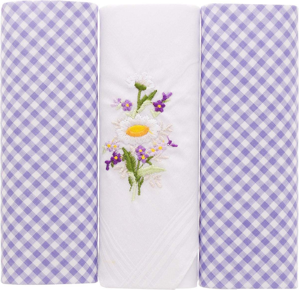 Платок носовой женский Zlata Korunka, цвет: голубой, белый, 3 шт. 90330-5. Размер 29 см х 29 см