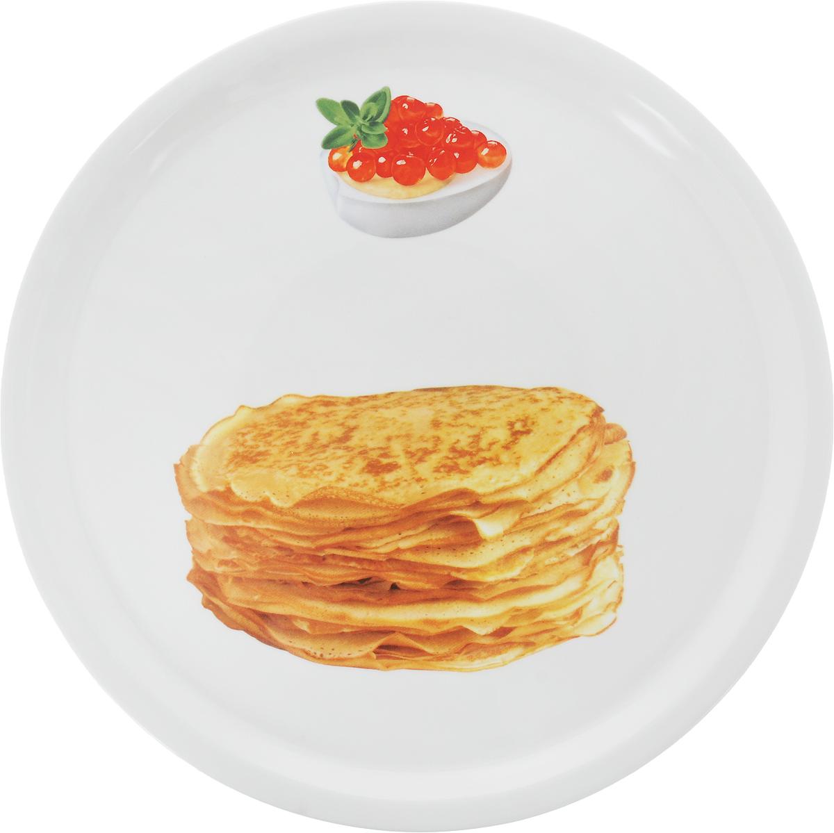 Тарелка для блинов Elan Gallery Блины, диаметр 25 см101108Круглая тарелка Elan Gallery Блины, изготовленная из фарфора и декорированная ярким и аппетитным изображением, позволит красиво подать блины.Такая тарелка украсит сервировку вашего стола и подчеркнет прекрасный вкус хозяина, а также станет отличным подарком.Диаметр: 25 см.Высота: 2 см.