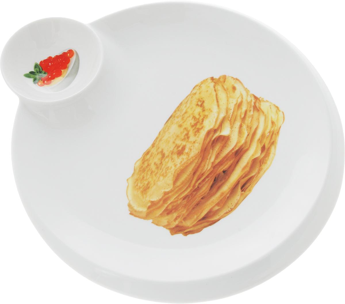 Тарелка для блинов Elan Gallery Блины, с соусницей, диаметр: 20 см101105Тарелка для блинов с декором позволит красиво подать блины. Легко моется, можно использовать в микроволновой печи.Изделие имеет подарочную упаковку, поэтому станет желанным подарком для Ваших близких!Размер тарелки: 27,5 х 25 х 2,5 см.