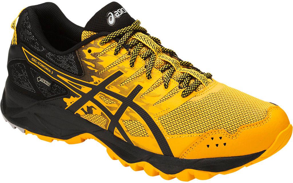 Кроссовки мужские Asics Gel-Sonoma 3 G-Tx, цвет: желтый, черный. T727N-0490. Размер 13 (46,5)T727N-0490В беге по пересеченной местности необходимо всю энергию сконцентрировать на достижении цели и наслаждаться моментом и великолепным пейзажем вокруг. Мужские кроссовки Asics Gel-Sonoma 3 G-Tx - это обувь, которая имеет в своем арсенале все необходимое для изменчивых, непостоянных условий кросса. С ними вы можете достигнуть всех своих целей. Эти чрезвычайно прочные кроссовки, учитывающие все особенности бега по пересеченной местности, обеспечат комфорт, устойчивость и поддержку на протяжении всего маршрута. Кроссовки GEL-Sonoma 3 G-TX предназначены для кросса на короткие и средние расстояния и по любой поверхности. Гелевый амортизатор в задней части подошвы, технология EVA для средней части и светоотражатели 3M обеспечивают надежную защиту, а внешняя поверхность подошвы со стабилизацией для кросса гарантирует стабильность и поддержку на любой поверхности.