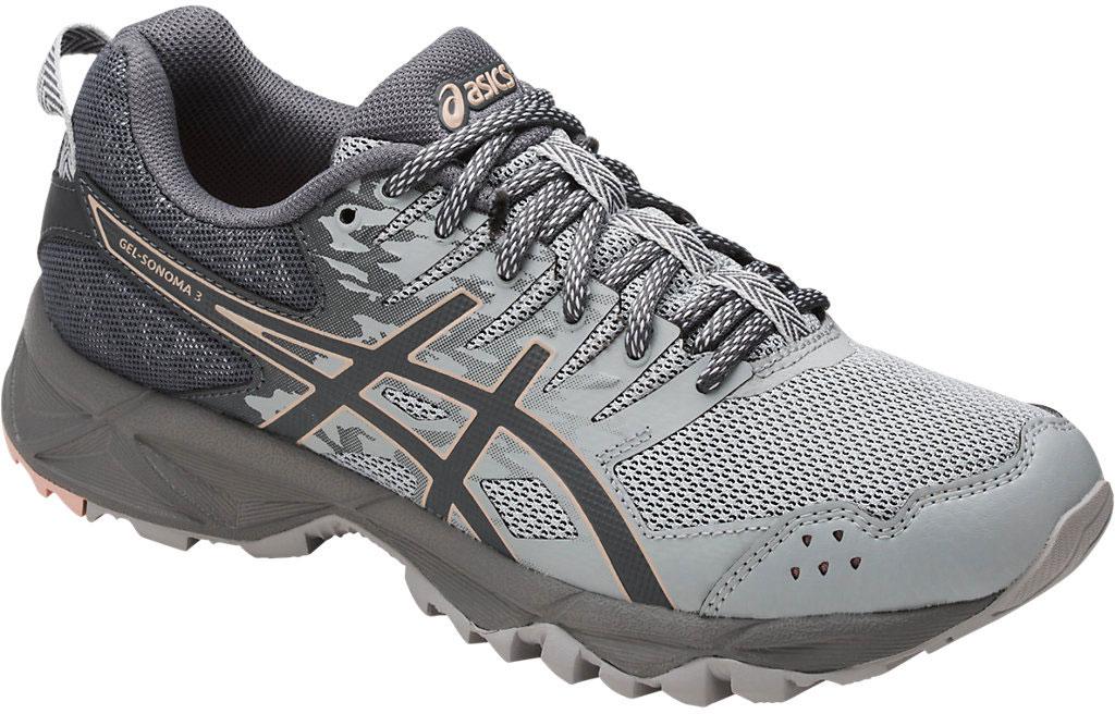 Кроссовки женские Asics Gel-Sonoma 3, цвет: серый. T774N-9697. Размер 9 (39)T774N-9697Третье поколение кроссовок Asics Gel-Sonoma 3 для бега по пересеченной местности. Обладают высокой износостойкостью. Благодаря новому дизайну верха кроссовки обеспечивают превосходную посадку и защиту при движении. Модель выполнена из легкого синтетического и воздухопроницаемого сетчатого материалов. Светоотражающие вставки 3M. Надежная износостойкая резина AHAR+. Asics Гель (специальный вид силикона) в носке снижает нагрузку на пятку, колени и позвоночник спортсмена. Trusstic System - литой элемент под центральной частью подошвы, предотвращающий скручивание стопы.