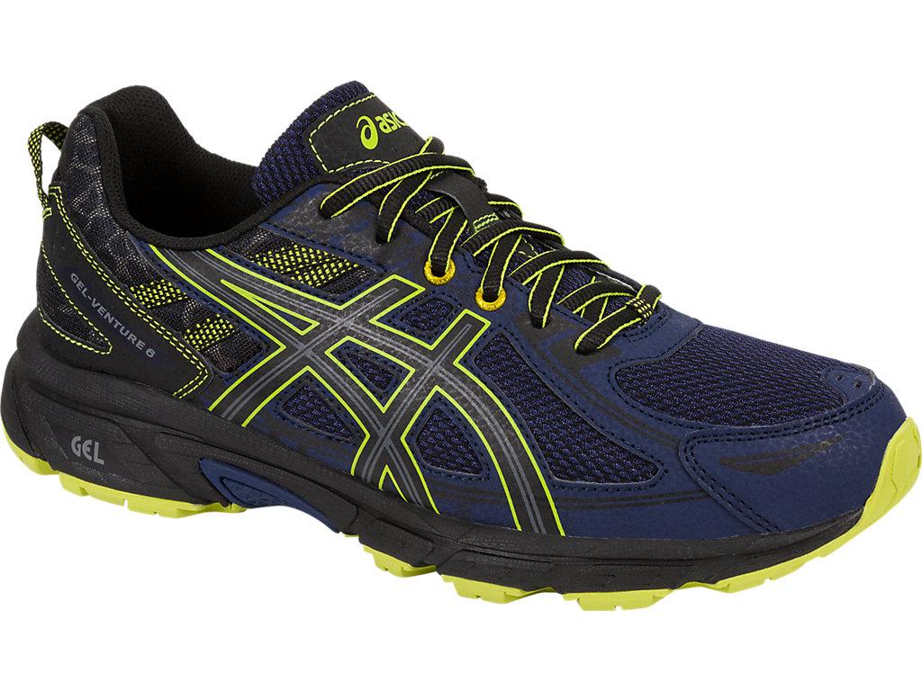 Кроссовки мужские Asics Gel-Venture 6, цвет: синий, черный, желтый. T7G1N-4990. Размер 9H (42)T7G1N-4990Мужские беговые кроссовки Gel-Venture 6 от Asics обеспечивают идеальную посадку и комфорт. Подходят для разных ландшафтов. Конструкция верха с технологией FluidFit представляет собой дышащую сетку с синтетическими накладками для поддержки и укрепления. Снизу конструкция укреплена слоем из искусственной кожи, позволяющим преодолевать лужи. Подошва выполнена из износостойкой резины со специальным протектором, который обеспечивает качественное сцепление с поверхностью в моменты спусков и подъемов на всех типах трасс. Технология AHAR - высококачественная вспененная резина повышенной износостойкости продлевает срок службы обуви. Trail Specific Outsole - специальная подошва для бездорожья создает особый комфорт за счет реверсивного протектора, который обеспечивает хорошее сцепление с поверхностью бездорожья. Технология Rearfoot GEL - специальный вид силикона ASICS гель в пятке, отлично справляющийся с функцией поглощения ударов и снижения нагрузки на пятку, колени и позвоночник спортсмена. Ударопрочная колодка California поддерживает стопу независимо от неровностей поверхности. Верх прострочен по кайме стельки EVA и напрямую закреплен на средней подошве. Съемная уплотненная стелька выполнена из легкого EVA-материала, она может быть извлечена для замены на ортопедическую.