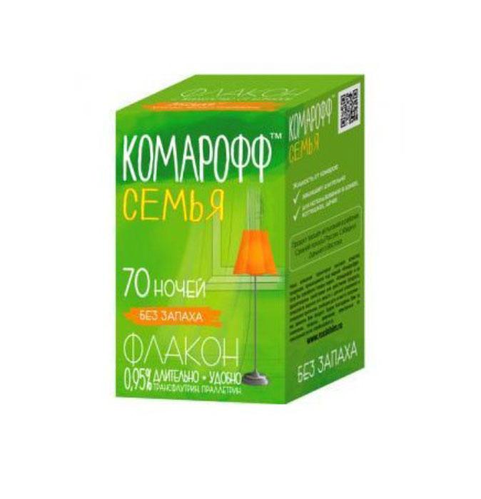 Жидкость от летающих насекомых Комарофф Семья, без запаха, 70 ночей, 45 млOF 01070031 Жидкостной комплект Комарофф состоит из флакона с жидкостью от комаров и электронагревательного прибора. Легкое в применении, средство особенно удобно как для первичной покупки, так и для повторной, например, для второй комнаты. Электроприбор универсален: подходит как для жидкости, так и для пластин. Жидкостной комплект из серии «Защита» от комаров – это эффективное и безопасное средство борьбы с летающими насекомыми. Действующее вещество – праллетрин (0,7%); без запаха. Флакон (45 мл) рассчитан на применение в течение 70 ночей; действие проявляется через 10-15 минут после включения электроприбора с жидкостным флаконом в электрическую розетку. Характеристики:Объем флакона: 45 мл. Состав: трансфлутрин - 0,15%, праллетрин - 0,8%, растворитель, стабилизатор. Товар сертифицирован.