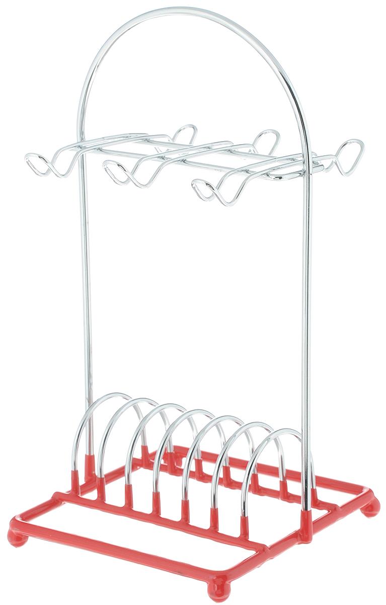 Подставка для кофейного сервиза Mayer & Boch. 2008820088Подставка-стойка для кофейного сервиза изготовлена из хромированной стали, основание подставки с красным резиновым покрытием. Подставка настольная, вертикальная, рассчитана на 6 чашек и 6 блюдец.Размер подставки: 14 x 14 x 28 см.
