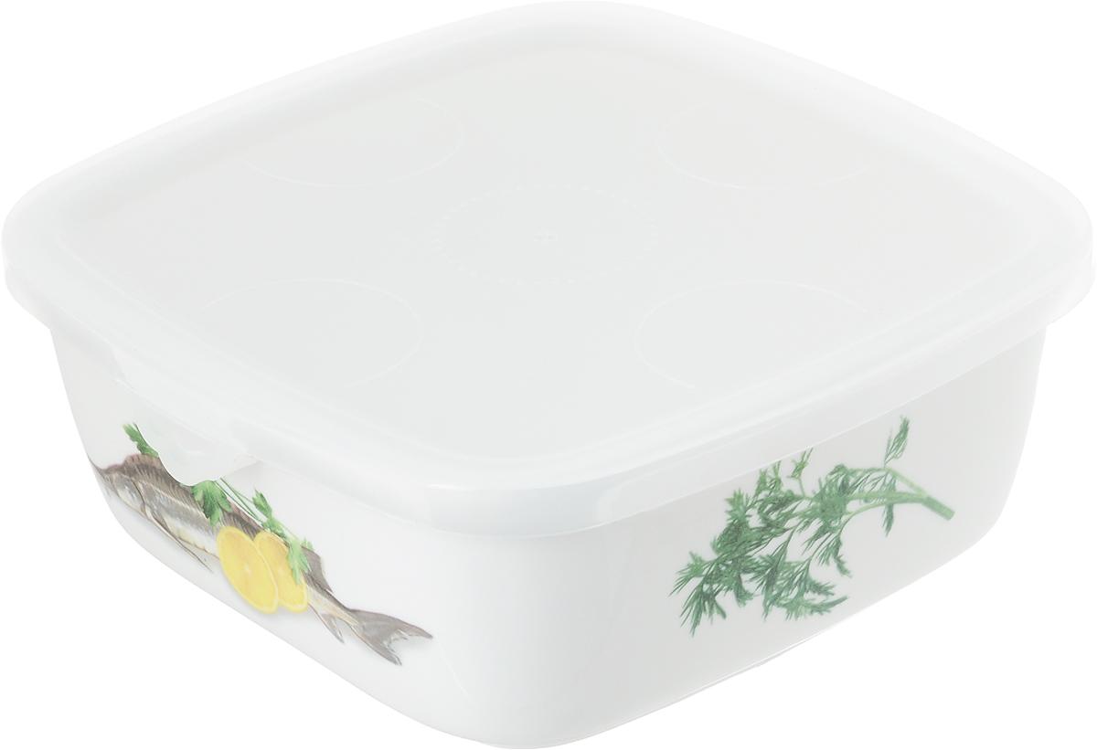 """Блюдо для холодца Elan Gallery """"Осетр"""", изготовленное из высококачественной керамики, предназначено для приготовления и хранения заливного или холодца. Пластиковая крышка, входящая в комплект, сохранит свежесть вашего блюда. Также блюдо можно использовать для приготовления и хранения салатов. Оформлено изделие оригинальным рисунком. Такое блюдо украсит сервировку вашего стола и подчеркнет прекрасный вкус хозяйки.   Не использовать в микроволновой печи.  Размер блюда (Д х Ш х В): 16 см х 16 см х 6,5 см."""