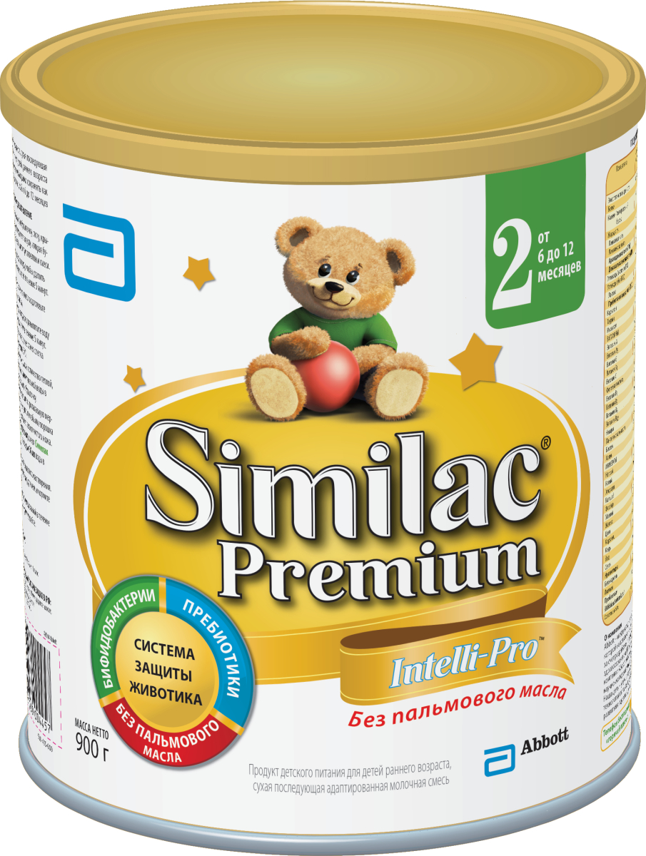 Similak Премиум 2 смесь молочная с 6 месяцев, 900 г20027595Адаптированная последующая детская молочная смесь премиум класса без пальмового масла, максимально приближенная по составу к грудному молоку. Уникальный состав с Системой Защиты Животика и Комплексом для развития мозга и зрения. Система защиты животикаБез пальмового маслаСпособствует формированию мягкого стулаПребиотикиПомогают формированию здоровой собственной микрофлоры кишечника и мягкого стулаПробиотикиЖивые бифидобактерии B.lactis (BL) поддерживают здоровую микрофлору кишечника. Развитие головного мозга и зренияУникальный комплекс «IQ Intelli-Pro»Содержит набор важных компонентов для развития мозга и зрения, в т.ч. Омега-3 (DHA) и Омега-6 (ARA) жирные кислоты, а также Лютеин.ЛютеинАнтиоксидант, входящий в состав грудного молока, важный для здоровья глаз. Лютеин не вырабатывается в организме, поэтому малыш может получить его только с питанием. Развитие иммунитетаВсесторонняя поддержка иммунной системы благодаря научно разрaботанномy комплексу веществ:Сочетание пребиотиков и бифидобактерий поддерживает естественные защитные функции организмаНуклеотиды способствуют развитию иммунной системы. Здоровый ростСмесь без пальмового масла способствует лучшему усвоению кальция для формирования крепких костей и здоровых зубовКомплекс витаминов и минералов для здорового роста малыша.