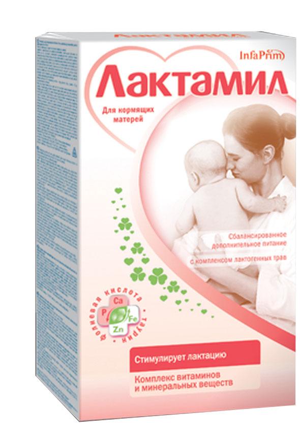 Лактамил для кормящих женщин смесь 360 г.2403Сбалансированный напиток на молочной основе для дополнительного питания кормящих мам. РЕКОМЕНДАЦИИ ПО ПРИМЕНЕНИЮ: установление и стимуляция лактации; увеличение объема грудного молока; улучшение питательной ценности молока; увеличение лактационного периода; оптимизация питания кормящей матери; восполнение повышенных потребностей женского организма в основных пищевых ингредиентах (белке, витаминах и минеральных веществах). ОСОБЕННОСТИ СОСТАВА: уникальный травяной лактогонный сбор; высококачественный молочный белок; полиненасыщенные жирные кислоты; лактоза и мальтодекстрин; пищевые волокна (пектин); оптимальный витаминный комплекс; минералы и микроэлементы. Не содержит сахарозы, ГМО.