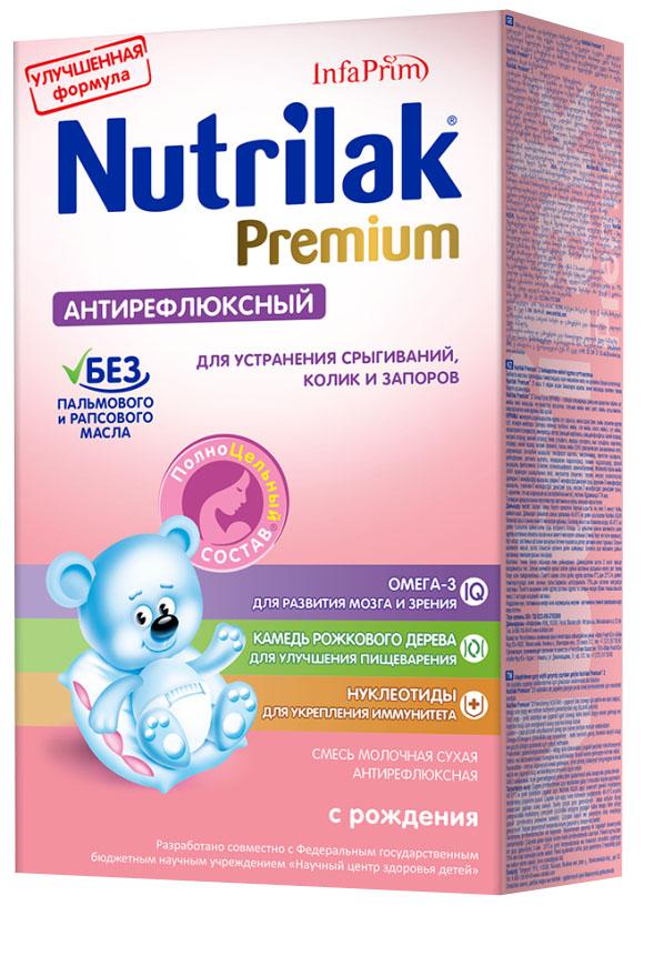 Nutrilak Premium антирефлюксный, смесь молочная с 0 месяцев, 350 г3884Сухая молочная антирефлюксная смесь с ПолноЦельным СОСТАВОМ Нутрилак предназначена для диетического лечебного питания детей при наличии функциональных нарушений пищеварения. ПОКАЗАНИЯ К ПРИМЕНИЮ: срыгивания; колики; запоры. ОСОБЕННОСТИ СОСТАВА: натуральная камедь рожкового дерева. УНИКАЛЬНЫЙ СБАЛАНСИРОВАННЫЙ ЖИРОВОЙ СОСТАВ: без пальмового и рапсового масла; натуральный молочный жир. ВАЖНЫЕ НУТРИЕНТЫ ДЛЯ РАЗВИТИЯ РЕБЕНКА: Омега-3 жирные кислоты (DHA, EPA); нуклеотиды; витамины, макро- и микроэлементы. Состав Антирефлюкс от Нутрилак разработан совместно с ведущими специалистами Научного центра здоровья детей Министерства здравоохранения Российской Федерации. Не содержит ГМО.