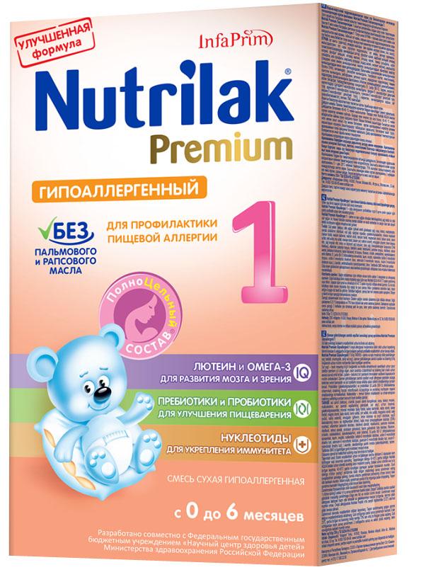 Nutrilak Premium гипоаллергенный 1 смесь с 0 месяцев, 350 г3885Сухая гипоаллергенная молочная смесь на основе частично гидролизованных сывороточных белков с ПолноЦельным Составом для диетического профилактического питания. ПОКАЗАНИЯ К ПРИМЕНЕНИЮ: профилактика развития пищевой аллергии. ОСОБЕННОСТИ СОСТАВА: частично гидролизованный сывороточный белок. УНИКАЛЬНЫЙ СБАЛАНСИРОВАННЫЙ ЖИРОВОЙ СОСТАВ: без пальмового и рапсового масла; натуральный молочный жир. ВАЖНЫЕ НУТРИЕНТЫ ДЛЯ РАЗВИТИЯ РЕБЕНКА: Омега-3 жирные кислоты (DHA, EPA); лютеин; пребиотики; пробиотики; витамины, макро- и микроэлементы. Состав Премиум Гипоаллергенный 1 от Нутрилак разработан совместно с ведущими специалистами Научного центра здоровья детей Министерства здравоохранения Российской Федерации. Не содержит ГМО.