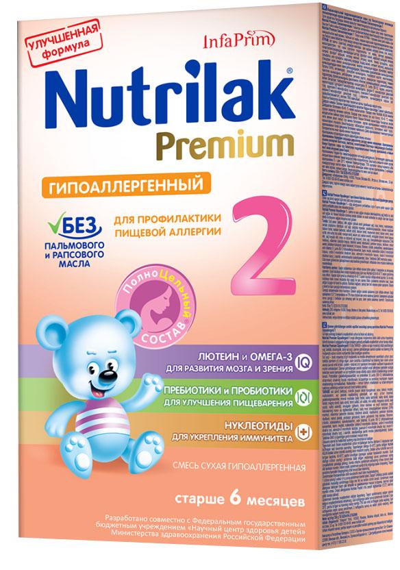 Nutrilak Premium гипоаллергенный 2 смесь с 6 месяцев, 350 г3886Сухая гипоаллергенная смесь Nutrilak Premium разработан на основе частично гидролизованных сывороточных белков с полноцельным составом для диетического профилактического питания детей. ПОКАЗАНИЯ К ПРИМЕНЕНИЮ: профилактика развития пищевой аллергии. ОСОБЕННОСТИ СОСТАВА: частично гидролизованный сывороточный белок. УНИКАЛЬНЫЙ СБАЛАНСИРОВАННЫЙ ЖИРОВОЙ СОСТАВ: без пальмового и рапсового масла; натуральный молочный жир. ВАЖНЫЕ НУТРИЕНТЫ ДЛЯ РАЗВИТИЯ РЕБЕНКА: Омега-3 жирные кислоты (DHA, EPA); лютеин; пребиотики; пробиотики; нуклеотиды; витамины, макро- и микроэлементы. Состав Nutrilak Premium гипоаллергенный 2 разработан совместно с ведущими специалистами Научного центра здоровья детей Министерства здравоохранения Российской Федерации.
