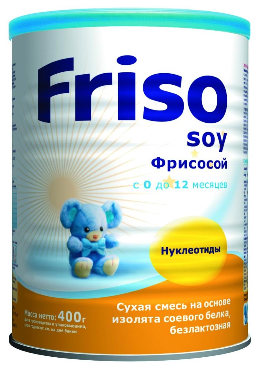 Friso Фрисосой с нуклеотидами смесь соевая с 0 месяцев, 400 г496100Фрисосой с нуклеотидами - смесь на основе изолята соевого белка, с рождения. В составе: • высокоочищенный изолят соевого белка, обогащенный незаменимыми аминокислотами, • нуклеотиды являются важными защитными факторами и поддерживают развитие иммунной системы, • незаменимые жирные кислоты (омега-3 и омега-6) - необходимы для развития мозга и органа зрения, • не содержит лактозы, • сбалансированная полноценная смесь, подходит для длительного вскармливания, • подходит для питания вегетарианцев.