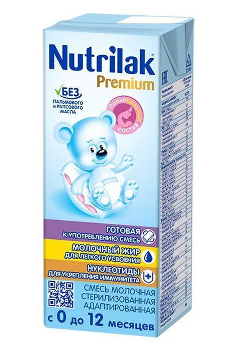 Nutrilak Premium смесь молочная с 0 месяцев, 200 мл8770Nutrilak Premium 1 полноценная сбалансированная смесь, соответствующая особенностям обмена веществ детей первого полугодия жизни. Рекомендуется при недостатке или отсутствии материнского молока. Входящие в состав пребиотики (галакто- и фруктоолигосахариды) способствуют комфортному пищеварению и поддержанию защитных сил организма, нуклеотиды обеспечивают процессы роста и развития малыша, оказывают влияние на формирование иммунитета. Комплекс жирных кислот Омега-3/Омега-6 (DHA/ARA) и лютеин участвуют в развитии зрительного анализатора и структур центральной нервной системы.