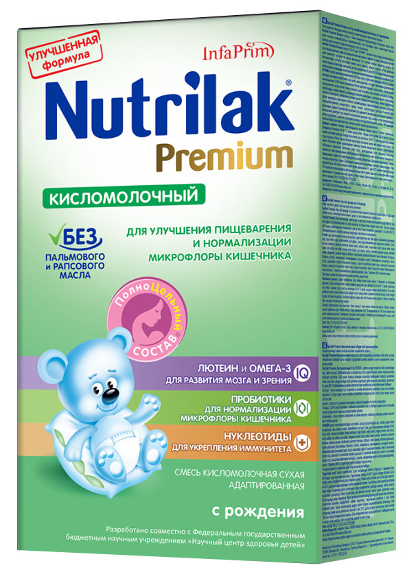 Nutrilak Premium смесь кисломолочная с 0 месяцев, 350 г8772Сухая кисломолочная адаптированная смесь с ПолноЦельным СОСТАВОМ для смешанного и искусственного вскармливания детей. ПОКАЗАНИЯ К ПРИМЕНЕНИЮ: улучшение пищеварения; нормализация микрофлоры кишечника. ОСОБЕННОСТИ СОСТАВА: пробиотический комплекс. УНИКАЛЬНЫЙ СБАЛАНСИРОВАННЫЙ ЖИРОВОЙ СОСТАВ: без пальмового и рапсового масла; натуральный молочный жир. ВАЖНЫЕ НУТРИЕНТЫ ДЛЯ РАЗВИТИЯ РЕБЕНКА: Омега-3 жирные кислоты (DHA, EPA); лютеин; нуклеотиды; витамины, макро- и микроэлементы. Смесь Премиум Кисломолочная от Нутрилак разработана совместно с ведущими специалистами Научного центра здоровья детей Министерства здравоохранения Российской Федерации. Не содержит ГМО.