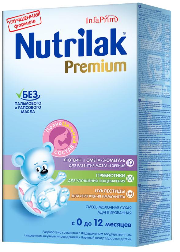 Nutrilak Premium+ смесь молочная с 0 месяцев, 350 г8793Смесь молочная сухая адаптированная с ПолноЦельным СОСТАВОМ для смешанного и искусственного вскармливания детей. УНИКАЛЬНЫЙ СБАЛАНСИРОВАННЫЙ ЖИРОВОЙ СОСТАВ: Без пальмового и рапсового масла. Натуральный молочный жир. ВАЖНЫЕ НУТРИЕНТЫ ДЛЯ РАЗВИТИЯ РЕБЕНКА: Омега-3/Омега- 6 (DHA/ARA) жирные кислоты; лютеин; пребиотики; нуклеотиды; витамины, макро- и микроэлементы. Смесь разработана совместно с ведущими специалистами Научного центра здоровья детей Министерства здравоохранения Российской Федерации.