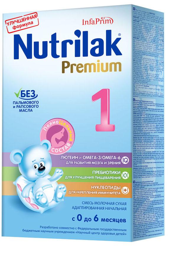 Nutrilak Premium+ 1 смесь молочная с 0 месяцев, 350 г8794Премиум 1 от Нутрилак – адаптированная начальная сухая молочная смесь с пребиотиками и ПолноЦельным СОСТАВОМ для смешанного и искусственного вскармливания детей. УНИКАЛЬНЫЙ СБАЛАНСИРОВАННЫЙ ЖИРОВОЙ СОСТАВ: Без пальмового и рапсового масла; натуральный молочный жир. ВАЖНЫЕ НУТРИЕНТЫ ДЛЯ РАЗВИТИЯ РЕБЕНКА: Омега-3/Омега- 6 (DHA/ARA) жирные кислоты; лютеин; пребиотики; нуклеотиды; витамины, макро- и микроэлементы. Смеси Премиум от Нутрилак разработаны совместно с ведущими специалистами Научного центра здоровья детей Министерства здравоохранения Российской Федерации.